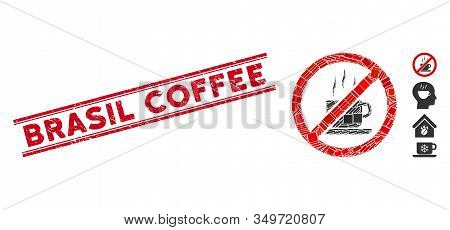 Mosaic Stop Coffee Pictogram And Red Brasil Coffee Stamp Between Double Parallel Lines. Flat Vector