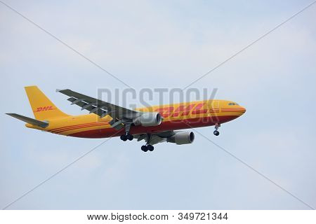 Amsterdam The Netherlands - July 20th 2017: D-aeae Eat Dhl Leipzig Airbus A300    Approaching Schiph