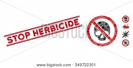 Mosaic No Dead Skull Icon And Red Stop Herbicide Stamp Between Double Parallel Lines. Flat Vector No