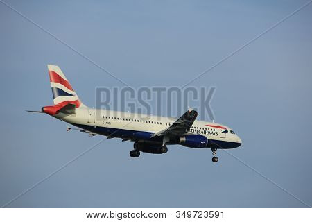 Amsterdam The Netherlands - July 7th 2017: G-midy British Airways Airbus A320 Approaching Schiphol A