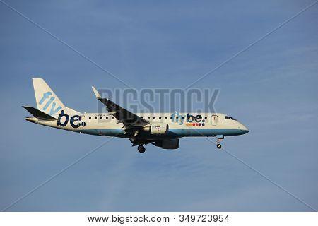 Amsterdam The Netherlands - July 7th 2017: G-fbjk Flybe Embraer Erj-175std Approaching Schiphol Amst