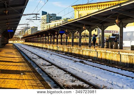 Train Platform At Bucharest North Railway Station (gara De Nord) In Bucharest, Romania, 2020