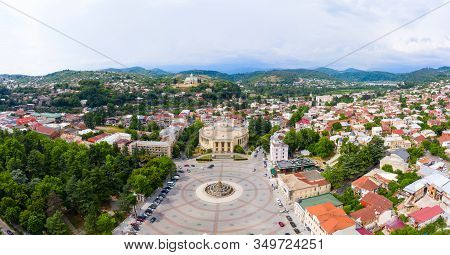 Summer View Of The City Of Kutaisi, Georgia. David Agmashenebeli Square, Theater Named After Lado Me