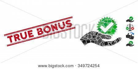 Mosaic True Bonus Icon And Red True Bonus Seal Between Double Parallel Lines. Flat Vector True Bonus