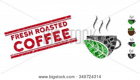 Mosaic Organic Coffee Cup Icon And Red Fresh Roasted Coffee Stamp Between Double Parallel Lines. Fla
