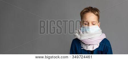 Caucasian Sick Boy Wearing A Protective Mask. Contagious Virus Concept. Coronovirus Concept. Banner.