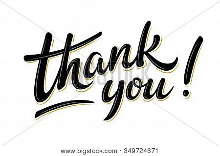 Thank You Bulk Lettering Sign. Handwritten Modern Brush Lettering On White Background. Text For Post