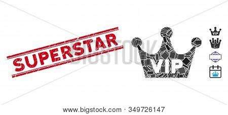 Mosaic Vip Crown Icon And Red Superstar Seal Between Double Parallel Lines. Flat Vector Vip Crown Mo