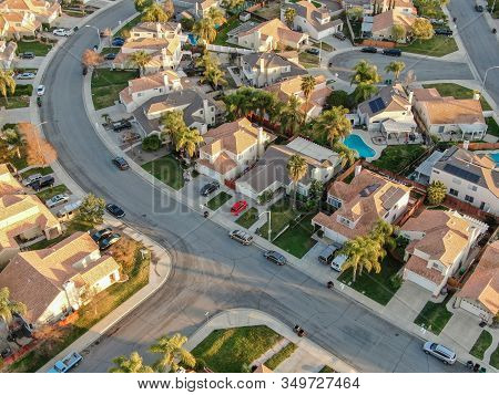 Aerial View Of Menifee Neighborhood, Residential Subdivision Vila During Sunset. Riverside County, C