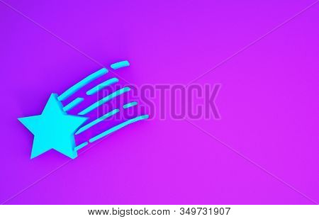 Blue Falling Star Icon Isolated On Purple Background. Shooting Star With Star Trail. Meteoroid, Mete