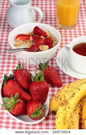 Healthy Breakfast With Strawberries And Bananas