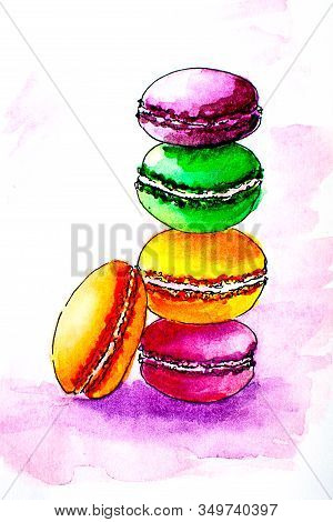 Colorful Tasty Sweet French Macarons. Hand Drawn Macarons. Sketch Style.