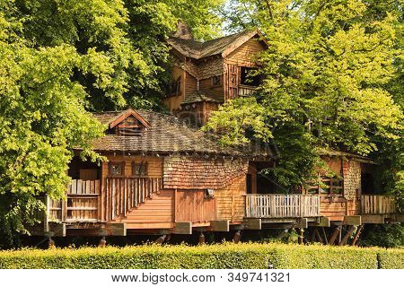 Alnwick, England - July 14: Alnwick Garden Tree House In Northumberland, Northern England Is Picture