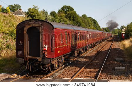 Appleby, England - August 25:  A Southbound Steam Train Departs From Appleby, England On August 25,