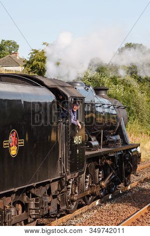 Appleby, England - August 25:  The Train Driver Aboard Preserved Stanier Class 8f Steam Locomotive N