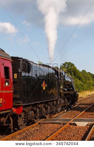 Appleby, England - August 25:  Preserved Stanier Class 8f Steam Locomotive Number 48151 Departs Sout