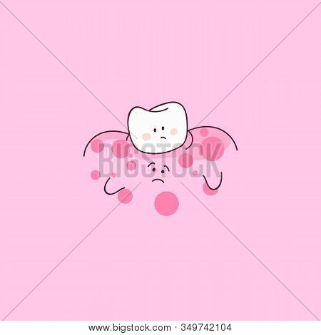 Sore Tooth, Inflamed Gums Character. Red Sore Gums. Dental Personage Vector Illustration. Illustrati