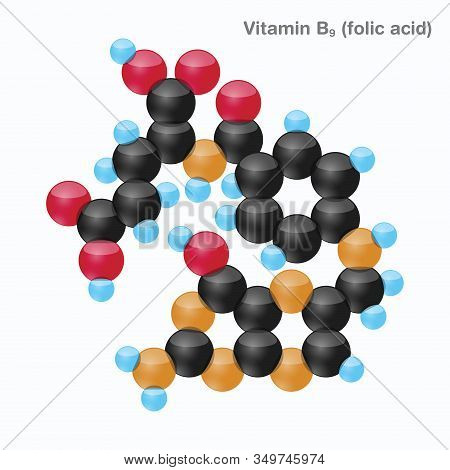 The Molecule Of Vitamin B9 (folic Acid). Vector Illustration In 3d Style, Isolated On White Backgrou