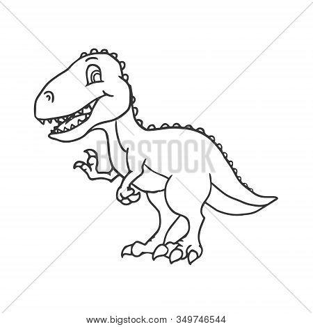 Cute Cartoon Dinosaur - T-rex Tyrannosaurus Rex. Vector