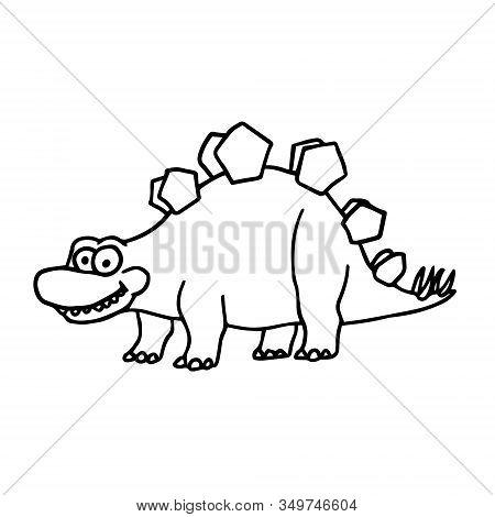 Cartoon Stegosaurus Cute Little Baby Dinosaur Outline. Vector