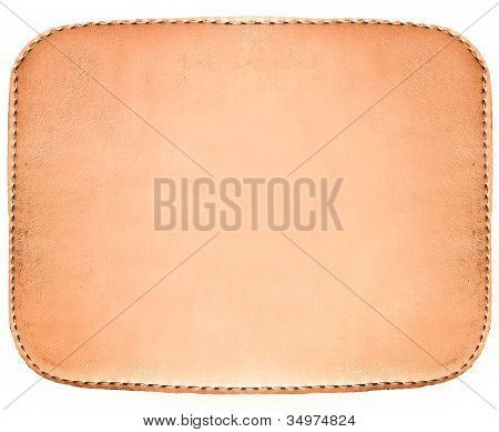 Rectangular blank grungy leather jeans label, highly detailed, isolated on white background