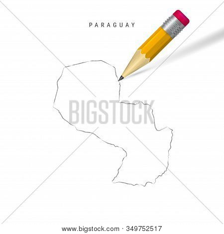 Paraguay Freehand Pencil Sketch Outline Map Isolated On White Background. Empty Hand Drawn Vector Ma
