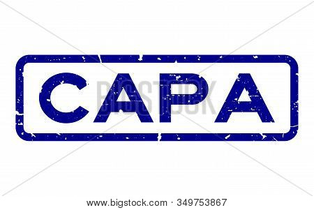 Grunge Blue Capa (abbreviation Of Corrective Action And Preventive Action) Word Squre Rubber Seal St