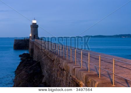 Guernsey Lighthouse At Night