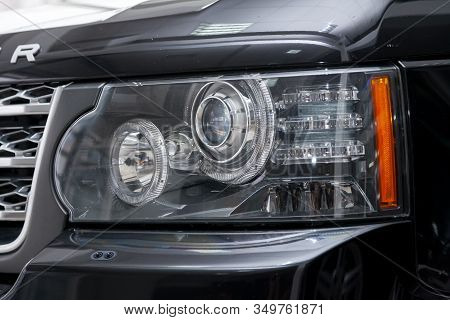 Novosibirsk, Russia - 02.07.2020: Black Used Land Rover Range Rover Supercharger 2010 With Front Hea