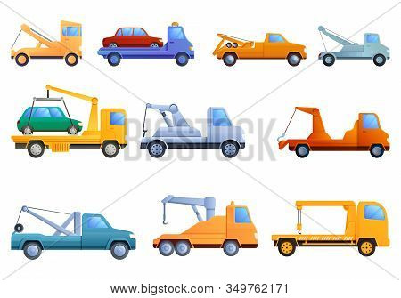 Tow Truck Icons Set. Cartoon Set Of Tow Truck Vector Icons For Web Design