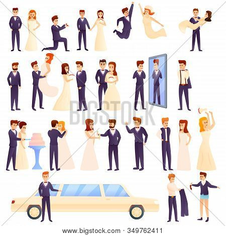 Groom Icons Set. Cartoon Set Of Groom Vector Icons For Web Design