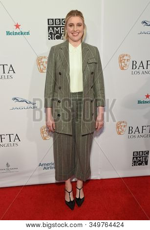 LOS ANGELES - JAN 04:  Greta Gerwig arrives for the The BAFTA Los Angeles Tea Party 2020 on January 04, 2020 in Los Angeles, CA