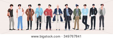 Beautiful Men Group Standing Together Attractive Guys Male Cartoon Characters In Fashion Clothes Ful