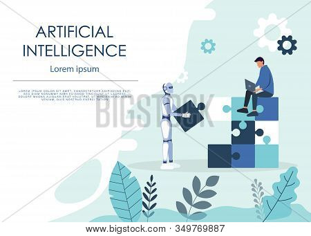 Teamwork people And Robots Handshake Modern business Human And Artificial Intelligence Futuristic Mechanism business Technology. Business Vector teamwork Illustration, business teamwork background, business web site.