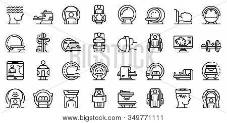 Magnetic Resonance Imaging Icons Set. Outline Set Of Magnetic Resonance Imaging Vector Icons For Web