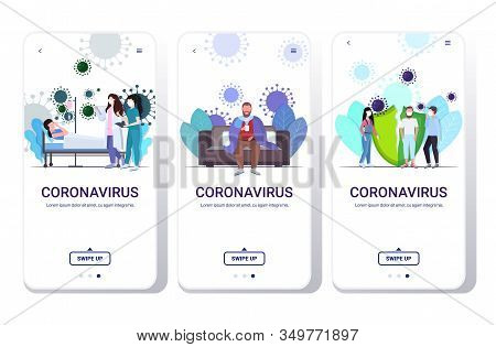 Set Epidemic Mers-cov Virus Wuhan Coronavirus 2019-ncov Pandemic Medical Health Risk Concepts Collec
