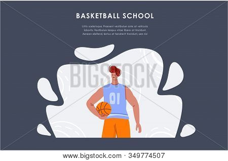 Landing Page - Basketball Player With Ball And Copy Space Or Text Place, Muscular Athletic Man Or Sp