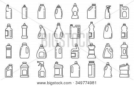 Bleach Bottle Icons Set. Outline Set Of Bleach Bottle Vector Icons For Web Design Isolated On White