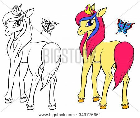 Vector Isolated Pony. Coloring Of Pony. Colored Cartoon Horse With Butterfly. Coloring And Colorful