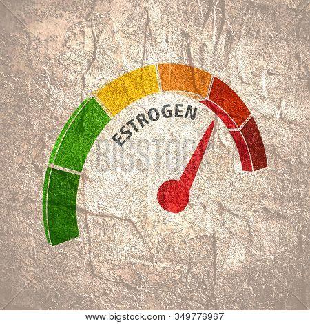 Hormone Estrogen Level Measuring Scale. Health Care Concept Illustration.