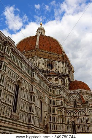Florence Italy Dome Of The Dome Designed By Architect Brunelleschi With Big Golden Sphere On Top