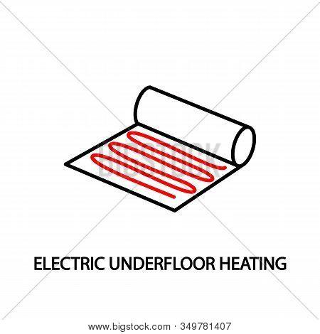 Electric Underfloor Heating Red Line Vector Icon. Editable Strokes.