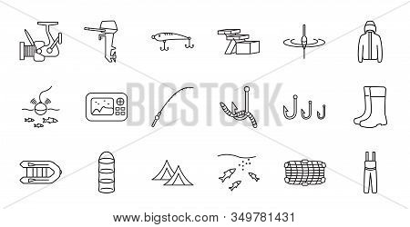Fishing Tackle Line Vector Icon Set. Everything For Fishing. Hook, Lure, Reel, Bobber, Outboard Moto