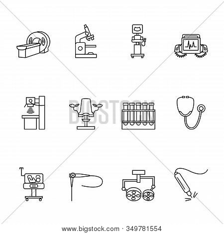 Medical Equipmet Line Icon Set. Vector Illustration Examination, Mri, X-ray, Ultrasound Machines, En