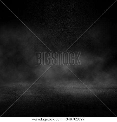 3D render of a grunge dark interior with smoky atmosphere