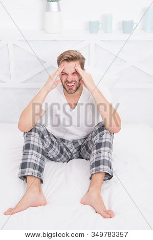 Feel Pain And Stress. Need More Time To Sleep. Menswear Pajamas. Pajamas For Home Relax. Male Feelin