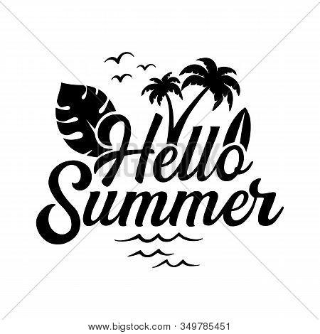 Hello Summer Lettering On White Background, Hello Summer Lettering On White Background. Pattern With