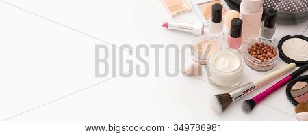 Beauty Background With Facial Cosmetic Products With Empty Copy Space. Makeup, Skin Care Concept Wit