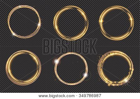 Bright Halo. Set Of Abstract Glowing Circles. Light Optical Effect Halo On Transparent Background. V