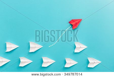 New Ideas Creativity And Different Innovative Solution. Business Concept. A Group Of Paper Airplanes